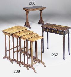 A set of mahogany, marquetry a
