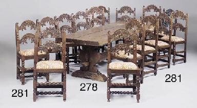 A matched set of fifteen oak c