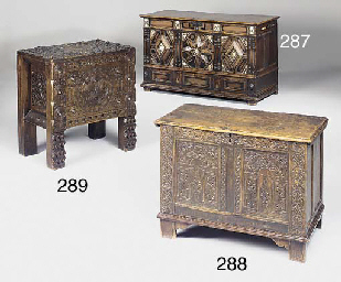 An oak panelled chest, late 17