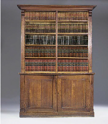 An oak open bookcase, 19th cen