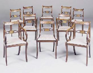 A set of ten mahogany, rosewoo