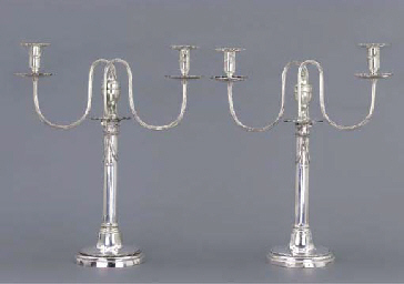 A pair of German silver candel
