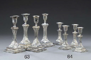 Four German silver candlestick