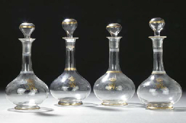 Four German glass gilt monogra