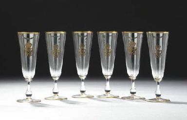 Six German glass gilt monogram