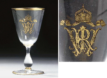 Five German glass gilt monogra