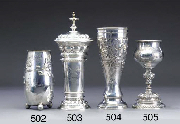 A German silver beaker and cov