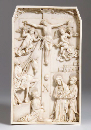 A CARVED IVORY RELIEF DEPICTIN
