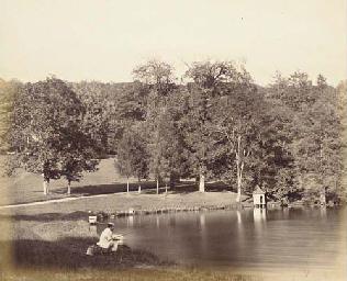 Pêcheur au bord d'un étang (vr