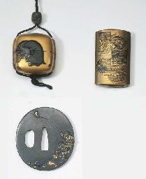 Two lacquer inro and a tsuba
