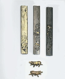 Five kozuka and a pair of menu