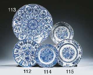 A set of five blue and white d