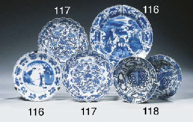 Six blue and white 'kraak pors