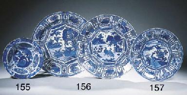 Four blue and white 'kraak por