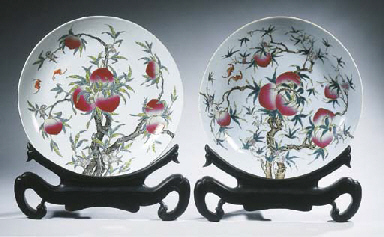 A pair of famille rose charger