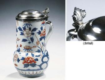 A Japanese Imari silver-mounte