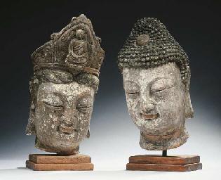 A stucco head of Buddha Shakya