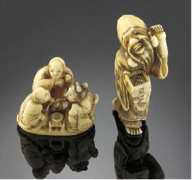 An ivory netsuke of Fukurokuju