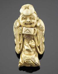 An ivory netsuke of Hotei 19th
