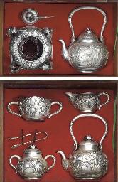 A part silver tea service Earl