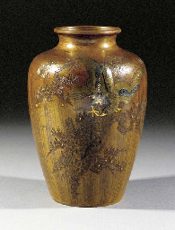 A patinated ovoid bronze vase