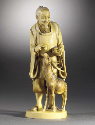 An ivory okimono of an elderly