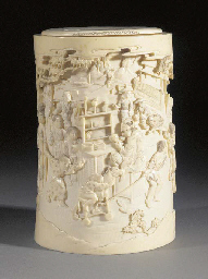 An ivory tusk vase and cover M