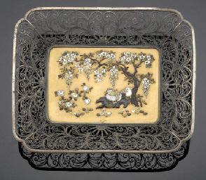 A Shibayama and silver filigre