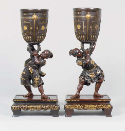A PAIR OF BRONZE FIGURES