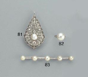 A PLATINUM PEARL AND DIAMOND R