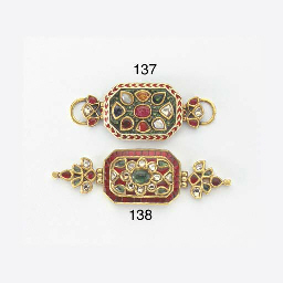 A GEM-SET AND ENAMEL NAVRATNA