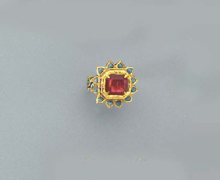 A SPINEL, TURQUOISE AND ENAMEL
