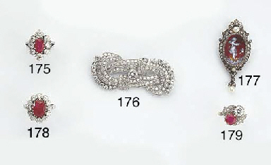 AN ANTIQUE DIAMOND AND LIMOGES