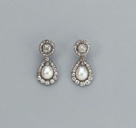 A PAIR OF ANTIQUE DIAMOND AND