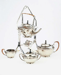 A metal tea service