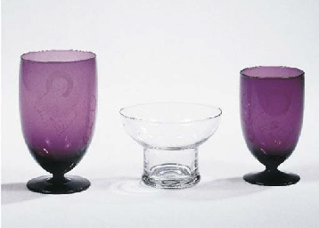 Two etched purple glasses