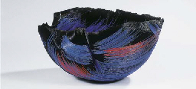 Nightfire, a fused glass bowl