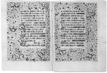 FOUR BIFOLIA from a Book of Ho