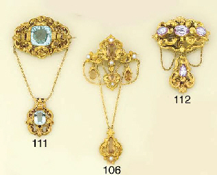 A Victorian gold, topaz and pe