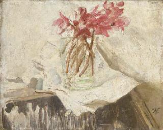 Pink cyclamen in a vase