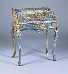 A VENETIAN BLUE, POLYCHROME AN