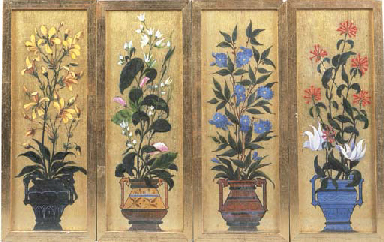 Urns of flowers