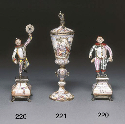 A pair of silver-gilt mounted