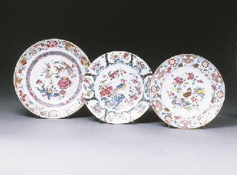 Three famille rose plates