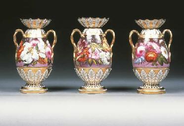 Three English porcelain two-ha