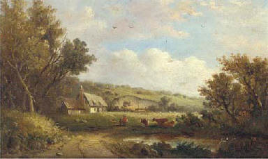 Cattle and figures before a co