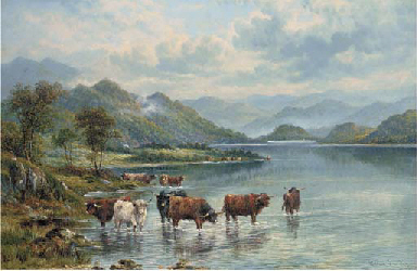 Cattle watering in a lake land