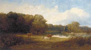 A tranquil river landscape wit