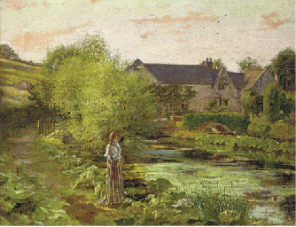 A lady before a watermill