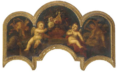Putti with an urn of flowers o